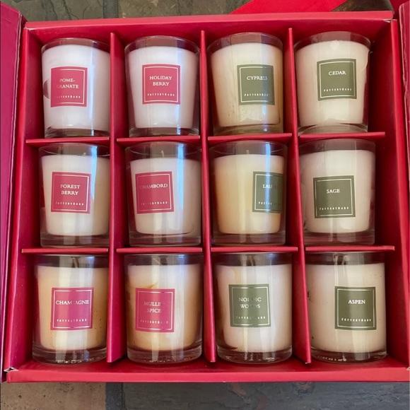 Pottery barn Christmas candle votive set 12